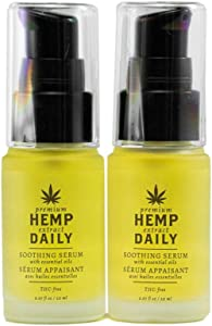 Hemp Daily Soothing Serum | Hemp Serum with Essential Oils | Vegan, Organic Ingredients, Calming, Use for Muscle Pain and Anxiety Relief | .67 Fluid Ounces, 2 Pack