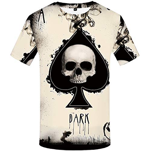 KYKU Poker Shirt for Men Skull Shirts Ace of Spades T Shirt Funny Graphic Tees (XX-Large)