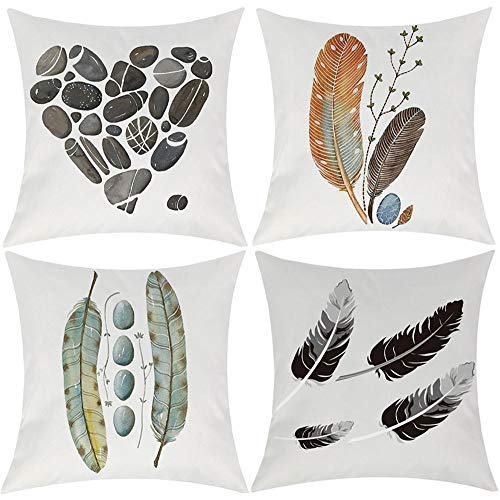 EZVING Feather Heart-Shaped Stone Print Decorative Throw Pillow Covers, 18 x 18 inches Cotton Linen Cushion Covers for Sofa Couch Decor Set of 4