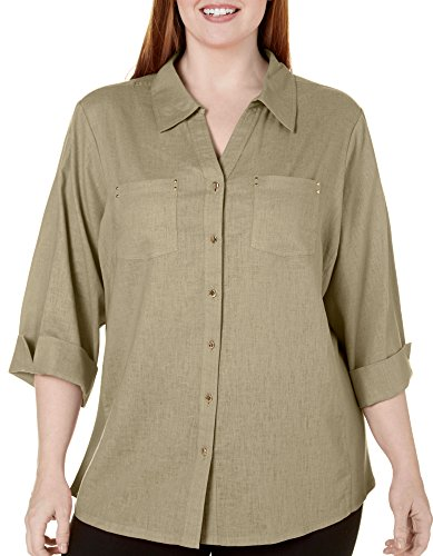 Coral Bay Plus ST Augustine Solid Woven Top 3X Mermaid - Augustine St Women And