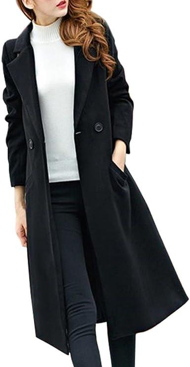 Fashion Women/'s Trench Long Sleeve Slim Fit Coat Jackets Lapel Basic Parka Size
