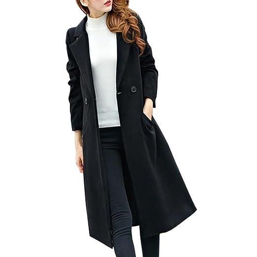 c9ded318c1b5f Transer Women Plus Size Long Cardigan Lapel Collar Trench Woolen Coat Parka Jacket  Overcoat Outwear (