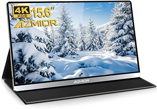 4K Portable Monitor – AZMIOR 15.6 Inch UHD 3840×2160 IPS 100% sRGB 60Hz, HDR Freesync Gaming Computer Display with Dual USB C Mini HD for Laptop, PC, MAC, Surface, Phone, PS3, PS4, Xbox, Switch