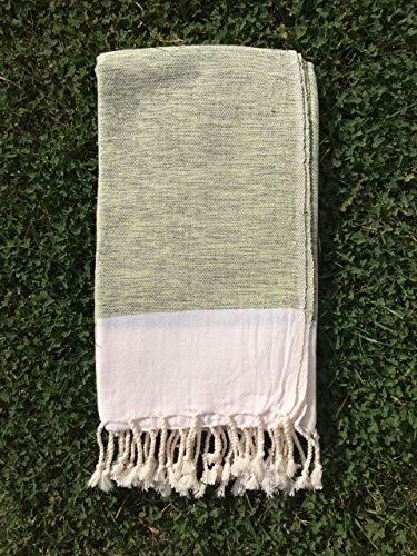 Turkish Cotton Bath Beach Spa Hammam Yoga Gym Yacht Hamam Towel Wrap Pareo Fouta Throw Peshtemal Pestemal Sheet Blanket (green) by Paramus