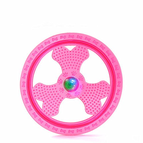 - Wandrola Flying Disc Dog Sport Toy with Flashing LED Lights, Light Up Pet Disk for Ultimate Night Time Play, Pink