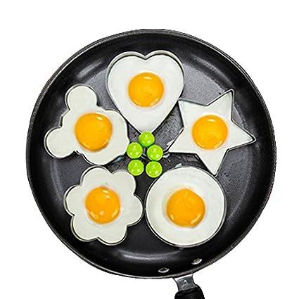 Lanker 5Pcs Acero Inoxidable Anillos De Huevo Frito Molde Antiadherente Huevo Cocina Con Forma De Huevo