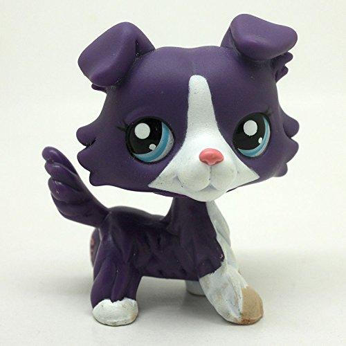 Purple Collie Dog Puppy Blue Eyes Hasbro Littlest Pet Shop LPS Toys #1676