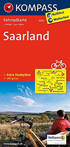 Saarland: Fahrradkarte. GPS-genau. 1:70000 (KOMPASS-Fahrradkarten Deutschland, Band 3092)
