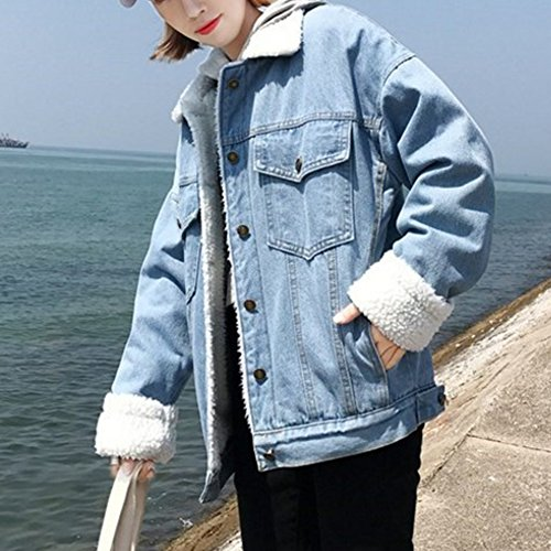 Blu Manica Denim Risvolto Lunga Cappotti Jeans Outerwear Casual Jacket Pulsante Chiaro Addensare Donna Giacca ggqw7t1