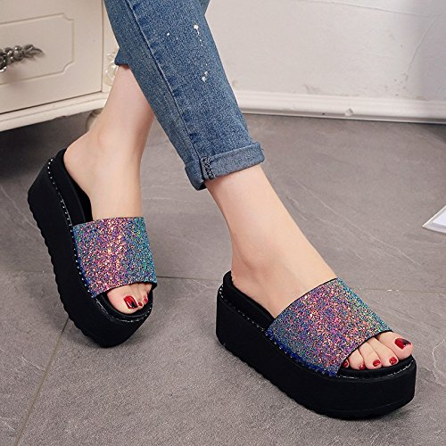 35 Zapatillas de oro de y Bizcocho 39 arrastrar de Moda y zapatos AJUNR Sandalias mujer 6cm versátil Transpirable espesor zapatos soltar elegante qwRyxZTH
