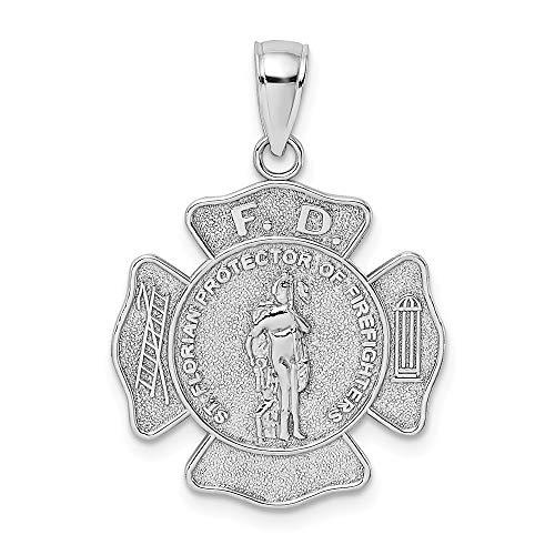 14K White Gold F.D. Saint Florian Medal Fired Dept. Charm (Saint Gold Medal Florian)