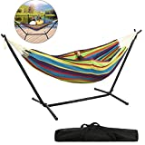 dtemple Portable Double Hammock with Steel Stand, Fabric Camping Hammock Bed Includes Portable Carrying Case 450lb Capacity| Relax Your Body(US Stock) (Type2)