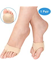 Lveal Metatarsal Pads for Hard Skin Mortons Neuroma, Ball of Foot Cushion Support Socks Gel Forefoot Metatarsal Pads for Sore Forefoot Pain Relief, Calluses and Blisters, Barefoot or Wear in Shoes (M)