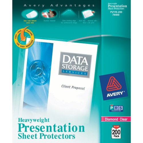 Avery Diamond Clear Heavyweight Sheet Protectors, Acid Free, Box of 200 (74400) (Round Edge Business Cards compare prices)