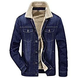 Tanming Men's Winter Casual Lined with Cashmere Warm Denim Jacket