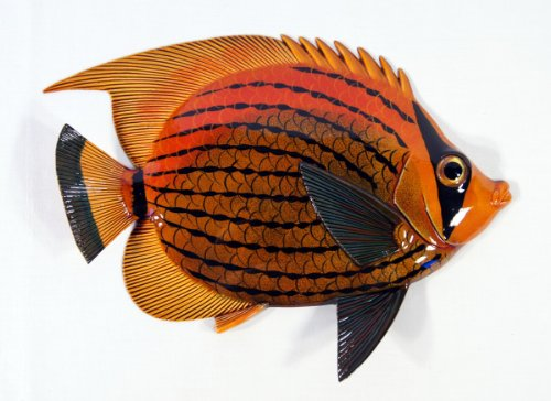- LX Handpainted Antique Color Tropical Fish Replica Wall Mount Decor Plaque 12