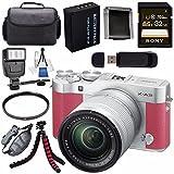 Fujifilm X-A3 Digital Camera w/16-50mm Lens (Pink) 16531659 + NP-W126 Lithium Ion Battery + 32GB SDHC Card + Carrying Case + Tripod + Flash + Card Reader + Memory Card Wallet Bundle