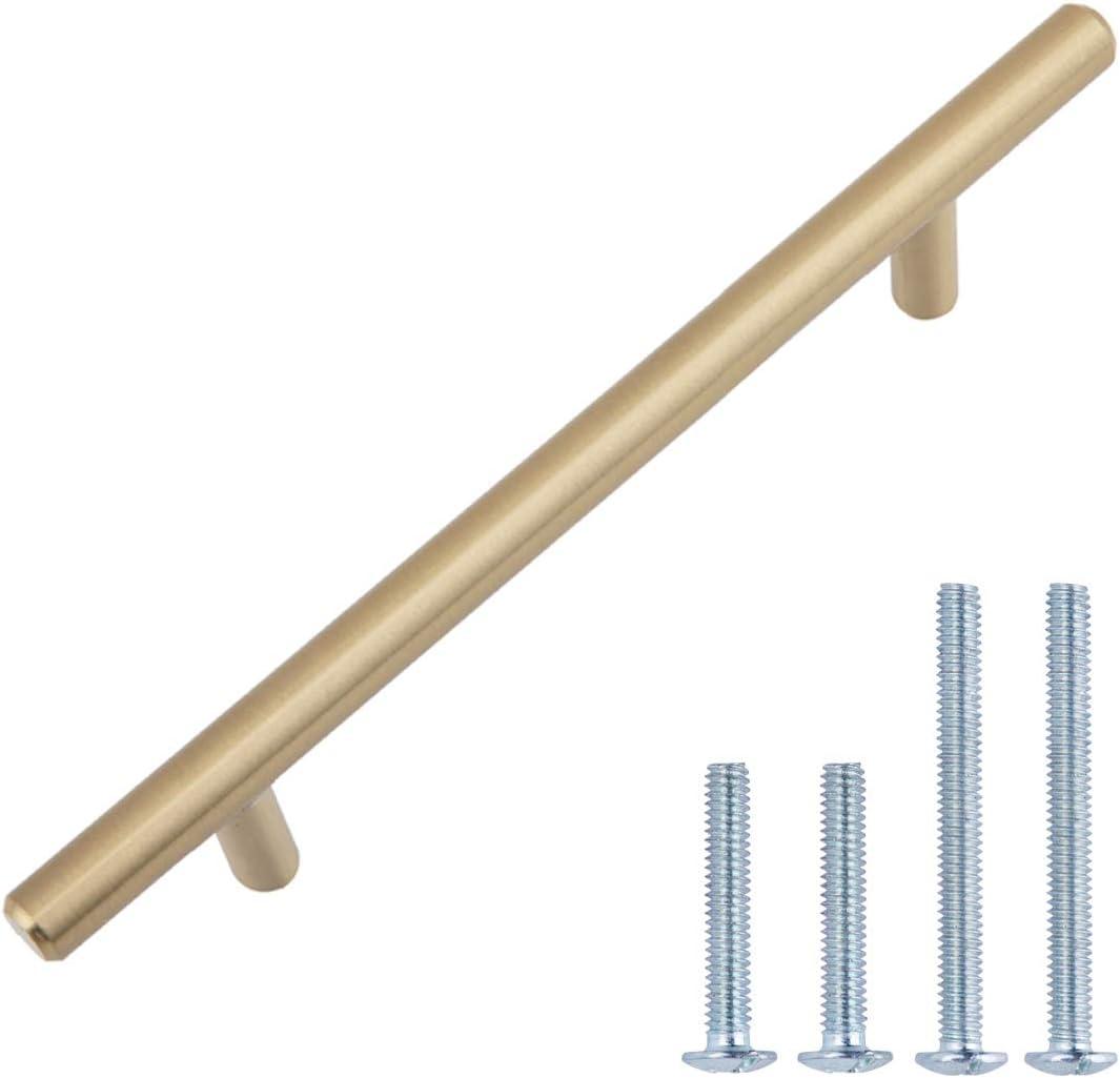 "AmazonBasics AB1600-GC-25 Cabinet Pull, 5.38"" Length (3"" Hole Center), Golden Champagne"