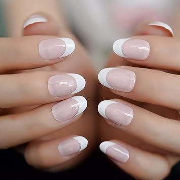 Amazon Com Natural Pink Color White French Fake Nails 24pcs Full