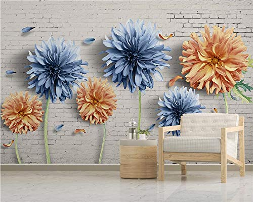 Mural,Customize 3D Wallpaper Chrysanthemum Brick Wall Vintage Flower Plant Series Art Print Wall Painting Hd Print Poster Picture Large Silk Mural For Living Room Bedroom Home Decor ,320Cm(H)×600Cm(W
