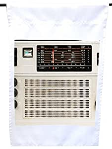 Rikki Knight Vintage Retro Radio House or Garden Flag, 12 x 18-Inch Flag Size with 11 x 11-Inch Image