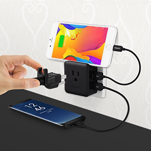 PISEN Portable AC Outlet Mini Power Strip with 2.4A 2 USB Ports 12W Mini Socket Wall Charger ,Wall Adapter USB Charging Ports for IPhone, IPad, Samsung Galaxys, Nexus, Tablets, Moto, LG and More