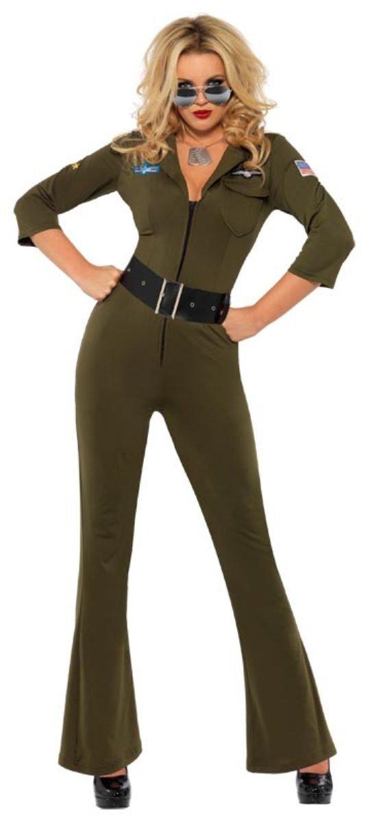 Karneval Damen Kostüm Top Gun Fliegerin Overall Pilotin Gr.S 36/38