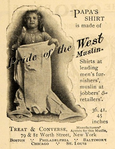 1902 Ad Treat Converse Muslin Men's Shirt Papa & Child - Original Print Ad from PeriodPaper LLC-Collectible Original Print Archive