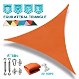 Coarbor 12'x12'x12' Triangle Sun Shade Sail with Hardware kit Perfect for Patio Deck Yard Outdoor Garden Permeable UV Block Shade Cover-Orange