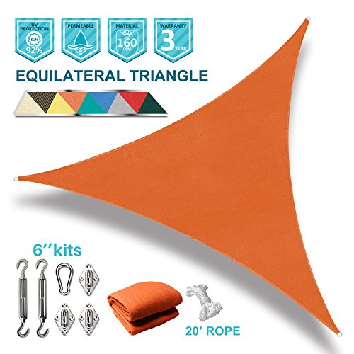 Coarbor 12'x12'x12' Triangle Sun Shade Sail with Hardware kit Perfect for Patio Deck Yard Outdoor Garden Permeable UV Block Shade Cover-Orange by Coarbor