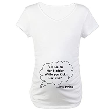 aaf3037a5 CafePress What Twins Say Under This Cotton Maternity T-Shirt, Cute & Funny  Pregnancy