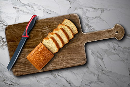 Westmark Non-Stick Bread Knife with Cover, 7.8-inch (Red/Black) 4 GERMAN ENGINEERED HIGH QUALITY KITCHENWARE: Westmark's Bread Knife is among the best in the world and is rated to be one of the best kitchenware brands available today. MATERIAL: Each product is made using a high quality stainless steel blade with a polypropylene handle. Included is a thermoplastic elastomeric knife cover to protect you and your knife. See below for more details. EASY AND READY TO USE: This easy to use product can thoroughly cut through any kind of bread, fruit, vegetable, meat and much more!Equipped with an ergonomic handle, Westmark's product ensures a secure grip making the bread knife efficient and comfortable to use.