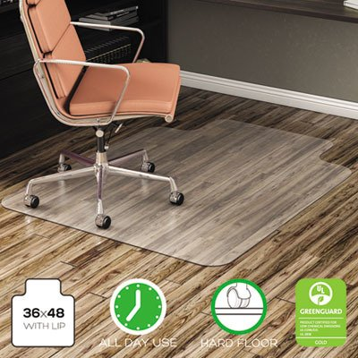 deflect-oamp;reg; - EconoMat No Bevel Chair Mat for Low Pile Carpet, 36w x 48h, Clear - Sold As 1 Each - Protective Vinyl, nonstudded, no Bevel Thin Chair mat.