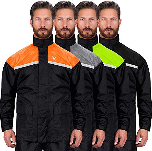 Viking Cycle Reflective Waterproof Motorcycle 2 Piece Rain Suit for