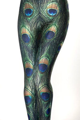 Sister Amy Women's Dark Green Peacock Floral Printed Footless Elastic Tights Legging ()