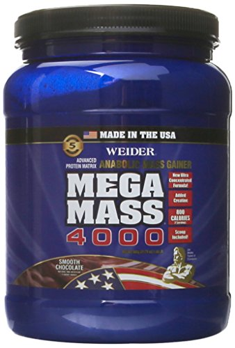 Weider MEGA MASS, Clean Anabolic Mass Gainer Formula, Smooth Chocolate, 1.98lbs