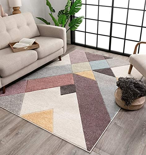Well Woven Canna Soft Pastel Multi Color Triangle Boxes Squares Geometric Area Rug 5×7 5 3 x 7 3