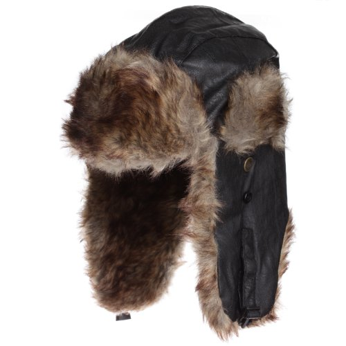 Dakota Dan Trooper Faux Leather Ear Flap Cap w Faux Fur Lining Hat (Black/Brown)