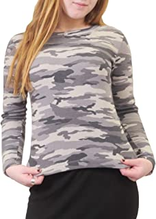 product image for Hard Tail Forever Women's Long Sleeve Silver Stripe Camo Crewneck Top Style CAMR-06