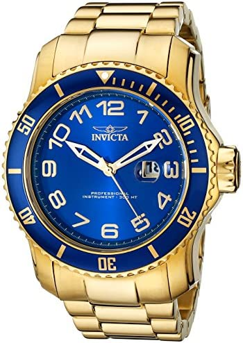 Invicta Men s 15347 Pro Diver Blue and Yellow Gold-Tone Stainless Steel Watch