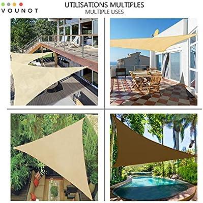 VOUNOT Toldo Vela de Sombra Triangular 3.6 x 3.6 x 3.6 m, Incluye 19 Kits de Montaje, Protección Rayos UV y HDPE Transpirable, para Exterior, Jardin, Patio, Beige: Amazon.es: Jardín