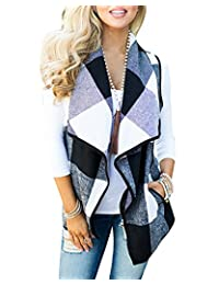 Women Lapel Open Front Sleeveless Plaid Vest Cardigan With Pockets