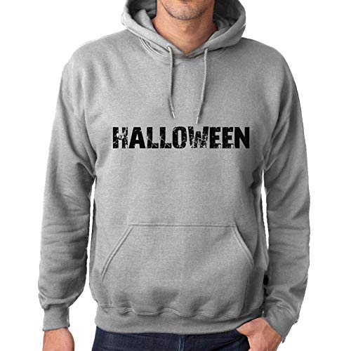 Ultrabasic Unisex Printed Graphic Cotton Hoodie Popular Words Halloween Grey Marl