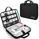 Electronics Organizer, Jelly Comb Laptop Electronic Accessories Travel Protective Carry Case for 13-14in Laptop, New MacBook, Phone, iPad 12.9'', Cables, Power Bank and More (Black and Gray)