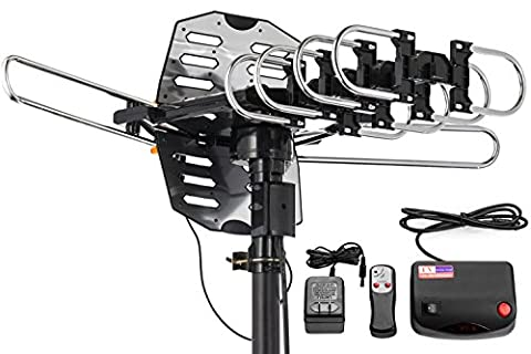ViewTV WA-2708B Snap On Outdoor Amplified Digital TV Antenna - 150 Miles Range - 360° Rotation - Wireless Remote - No Tools Required - (Dtv Tuner)