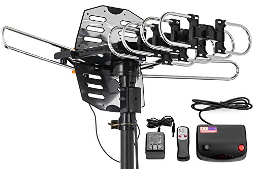 ViewTV WA-2708B Snap On Outdoor Amplified Digital TV Antenna - 150 Miles Range - 360° Rotation - Wireless Remote - No Tools Required - Black