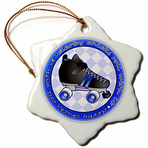OneMtoss Janna Salak Designs Roller Derby Derby Chicks Roll with It Blue and Black with Black Roller Skate Snowflake Porcelain Ornament ()