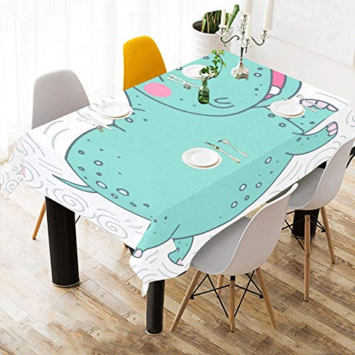 Restaurant Table Linens Ugly Animal Hippopotamus Cotton Print Table Linens Cloth Cover Tablecloth for Kitchen Dining Room Decor 60x84 Inch Decorative Table Linens (Sofa Hippopotamus)