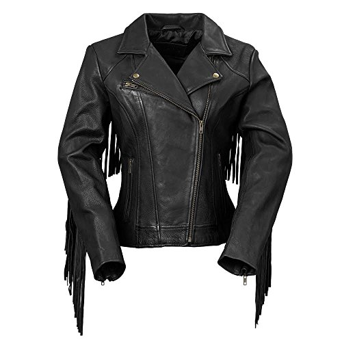 Whet Blu WMB1503-M-oxblood The Daisy Oxblood Medium Women's Fringed Leather Jacket Ladies Fringed Leather