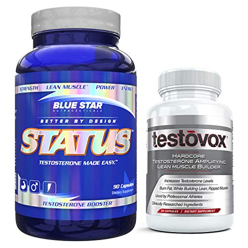 Testovox Muscle Building Supplement with Status Testosterone Support - Professional Grade, Muscle Building Bundle. Melt Away Fat, Boost Testosterone and Build Dense, Defined Muscles
